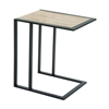 Charming Metal Wood Side Table, Black & Taupe