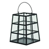 Enthralling Metal Glass Lantern, Black