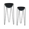 Durable Metal Planters, Black, Set Of Two