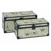 Benzara Wood Burlap Trunk S/2 Set Of Two Easy To Place Anywhere Trunks