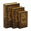 "Benzara Library Storage Books - Wood Book Box Set/3 13"", 11"", 9""H"