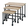 "Metal Wood Nest Table Set/3 30"", 23"", 16""W Accent Collection"