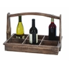 Benzara Useful And Portable Wine Bottle Basket With Aged Wood