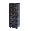Benzara Wood Leather 6 Drawer Cabinet With 6 Drawers