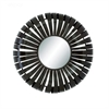 "Metal Wall Mirror 32""D, Black, Reflective"