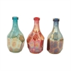 Radiant Glass Bottle 3 Assorted, Red, Blue