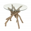 """Benzara Classy Driftwood Glass End Table 24""""W, 20""""H"""