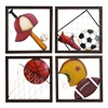 Benzara Metal Baseball Decor Set Of 4 Assorted Passion For Baseball