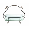 Benzara Glass Plate With Basket Style Swivel Handle