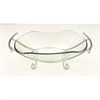 Elegant Glass Bowl Metal Silver Stand, Silver
