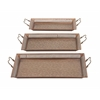 "Benzara Stunning Set Of Three Metal Tray 22"", 24"", 25""W"
