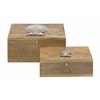 "Benzara Remarkable Set Of Two Wood Metal Boxes 12"", 10""W"