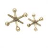 Appealing Aluminum Gold Jacks Sculpt, Silver, Set Of 2