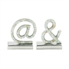 Astonishing Bookend Set, Chrome silver