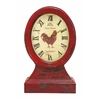 Benzara Farmer Themed Table Top Clock In Vintage Wood