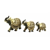 Polystone Elephant With Intricate Detailing - Set Of 3