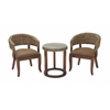 "Benzara Wood Woven Chair Table Set Of 3 20""W, 25""H"