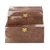 "Benzara Designer Wood Pvc Leather Box Set Of 2 10"", 11""W"