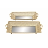 Intricately Designed Metal Mirror Tray Set Of 2