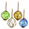 Glass Float With Rope 4 Asst White, Blue, Green And Yellow