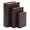 Benzara Wood Leather Book Box S/3 Beautifully Carved