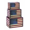 Benzara Wood Leather Box S/3 With Us Flag Colors