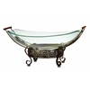 Benzara Glass Bowl Metal Stand With Round Metallic Structure