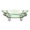 Benzara Glass Bowl Metal Stand In Antique Black Finish
