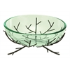 Benzara Glass Bowl Metal Stand Ultimate Modern Furniture Blend