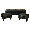 Wood Leather Bench Set Of 3 Varnished To Make It Long Lasting