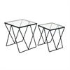 "Metal Glass Accent Table S/2 20"", 22""H, Black, Transparent"