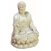Benzara Antique White Polystone Buddha Beautifully Carved 12.75 Inches High