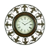 Benzara Metal Wall Clock With Round Flower Themed Border