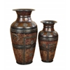 Benzara Metal Vase Set Of 2 Beautifully Carved
