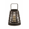 Benzara Brown Polished Attractive Wood Glass Lantern