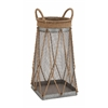 Benzara Customary Styled Classy Metal Jute Basket