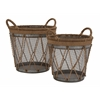 Benzara The Cool Set Of 2 Metal Burlap Basket