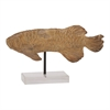 Captivating Ps Fish Sculpture, Natural Wood, Black