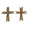 Benzara Creatively Styled Wood Metal Cross 2 Assorted