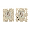 Benzara Charming Patterned Polystone Photo Frame 2 Assorted