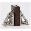 Classy Ceramic Bookend Pair, Chrome silver