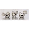 Adorable, Chrome silver, Set Of Three Ceramic Silver Birds