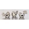 Adorable, Chrome silver, Set Of Three Ceramic Silver Birds