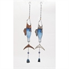 Nautical Metal Glass Silver Wind Chime 2 Assorted, Multicolor