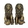 "Polystone Lions Pair 24""W, 32""H, Gold"