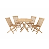 "Benzara Teak Wood Dining Set Of 5 42""W, 30""H"