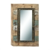 "Wood Wall Mirror 28""W, 47""H, Light Blue"