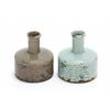 Benzara Weather Resistant & Cut Wood Ceramic Vase With Natural Design