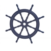 Benzara Navy Blue Polished Attractive Wood Ship Wheel