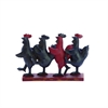 "Polystone Dancing Roosters 10""W, 8""H, Red"